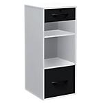 Classeur monobloc 2 tiroirs + 2 niches Elégance 420 x 440 x 1010 mm Blanc, noir