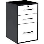 Classeur à tiroirs monobloc 42 (L) x 44 (P) x 69 (H) cm Blanc, Noir