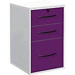 Classeur monobloc 3 tiroirs Elégance 420 x 440 x 690 mm Blanc, prune