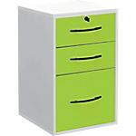 Classeur à tiroirs monobloc Elégance 420 x 440 x 690 mm Blanc, Vert