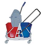 Chariot de nettoyage sur roulettes 64,5 x 50,5 cm Bleu, rouge