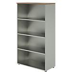 Bibliothèque haute Dual 90 x 45 x 160 cm Imitation noyer, gris aluminium