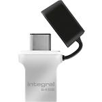 Clé USB OTG Integral Fusion USB 3.0   Type C 64 Go Noir, Argenté
