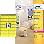 25 Feuilles d'étiquettes Laser jaune fluorescent L7263Y   Avery   14