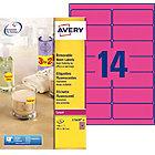 25 Feuilles d'étiquettes Laser rose fluorescent L7263P   Avery   14
