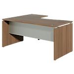 Bureau retour à droite Dual 160 x 120 x 73 cm Imitation noyer, gris aluminium
