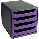 Module de tiroirs Exacompta Big Box Classic Noir, Violet