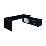Bureau droit manager avec console retour Flora 1800 x 900 x 740 mm Imitation frêne noir