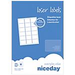 Étiquettes Niceday Special format Blanc 63,5 x 46,6 mm 100 Feuilles de 18 Étiquettes
