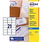 Etiquettes d'adresse AVERY Zweckform QuickDry™ A4 Blanc 63,5 x 38,1 mm 25 Feuilles de 21 Étiquettes