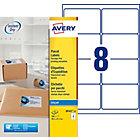 Étiquettes d'adresses AVERY Zweckform Quick DRY Special format Blanc 99,1 x 67,7 mm 8 Feuilles de 25 Étiquettes