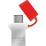 Clé USB OTG Integral Fusion USB 3.0   Type C 128 Go Rouge, Argenté