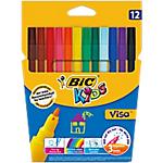 Feutre de coloriage BIC Kids Visa 2 mm Assortiment   12 Unités
