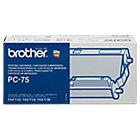 Kit composé d'une cartouche + un ruban encreur Brother PC75 Noir 144