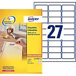 Étiquettes repositionnables Avery L4737REV Blanc 29,6 x 63,5 mm 27 Feuilles de 25 Étiquettes