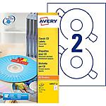 Étiquettes CD et DVD AVERY Zweckform L6043 25 A4 Blanc 25 Feuilles de 2 Étiquettes