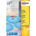 Étiquettes CD et DVD autocopiantes Avery L7676 A4 Blanc 117 mm 25 Feuilles de 2 Étiquettes
