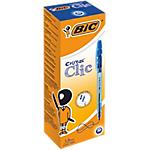 Stylo bille rétractable BIC Cristal Clic 0.4 mm Bleu   20 Unités