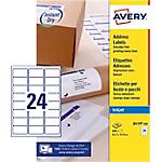 Étiquettes d'adresses Avery Quick DRY A4 Blanc 63,5 x 33,9 mm 100 Feuilles de 24 Étiquettes