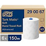 Essuie mains rouleaux en papier doux Tork Advanced H1 2 épaisseurs Sans pliage Blanc   6 Rouleaux de 625 Feuilles