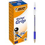 Stylo bille avec capuchon BIC Cristal Grip 0.4 mm Bleu   20 Unités