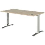 Bureau droit Dual 120 x 80 x 73 cm Imitation chêne, gris aluminium