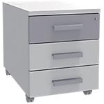 Caisson mobile Adjust 414 x 529 x 560 mm Blanc, gris aluminium