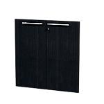 Jeu de 2 portes pleines bibliothèque H. 80 cm Noir cendré Flora Imitation frêne noir 18 x 800 x 770 mm Hauteur pas Réglable