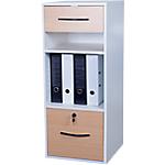 Classeur monobloc 2 tiroirs + 2 niches Elégance 420 x 440 x 1010 mm Imitation hêtre, blanc