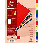 Intercalaires à touches imprimées Exacompta A4 Assortiment 12 intercalaires Perforé Polypro 1 à 12