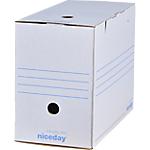 Boîte d'archives Niceday 16,7 (L) x 33,5 (l) x 24,5 (H) cm Blanc 50 Unités