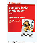 50 feuilles de papier photo standard jet d'encre mat   Office Depot   A4   165 g