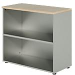 Bibliothèque basse Dual 80 x 45 x 73 cm Imitation chêne, gris aluminium