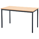Table rectangulaire Niceday 1 800 x 800 x 750 mm Noir, imitation hêtre