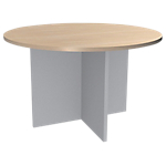 Table ronde Adjust 1 200 x 1 200 x 725 mm Imitation chêne, blanc