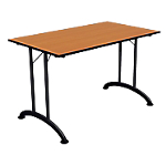 Table de réunion rectangulaire pliante 1200 x 700 x 740 mm Noir, imitation poirier
