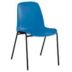 Chaise coque empilable   corps bleu & piétement noir