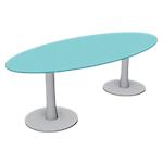 Table ovale London 2400 x 1100 x 750 mm Gris, Transparent