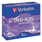 Support DVD enregistrable double couche Verbatim 8.5 Go 8x 5 Unités