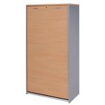 Armoire personnalisable corps aluminium et rideau hêtre l.86 x h.186 x p.46 cm