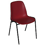 Chaise coque empilable   corps rouge & piétement noir