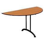 Table de réunion demi ronde pliante Mobilis EVO 1400 x 700 x 740 mm Noir, imitation poirier