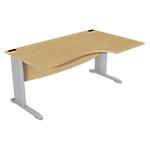 Bureau compact 90° retour à droite Optimal 1600 x 800 x 720 mm Imitation hêtre, gris aluminium