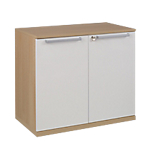 Armoire basse Gautier Office Sliver 80 (L) x 45 (P) x 75 (H) cm Imitation chêne, blanc
