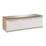Armoire basse Gautier Office Sliver 135 (L) x 45 (P) x 46 (H) cm Imitation chêne, blanc