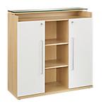 Armoire mi haute Gautier Office Sliver 119 (L) x 45 (P) x 125 (H) cm Imitation chêne, blanc