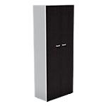 Armoire haute 2 portes hautes London 860 x 450 x 2140 mm Imitation wengé, gris aluminium