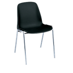 Chaise coque empilable   corps noir & piétement chromé