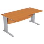 Bureau compact 90° retour à gauche Optimal 1600 x 1000 x 720 mm Imitation poirier, gris aluminium