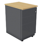 Caisson 3 tiroirs avec coffre anthracite et plateau hêtre l.42 x p.60 x h.72 cm